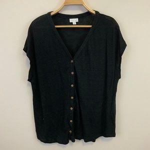 J. Jill Linen Black Sleeveless Button Front XL